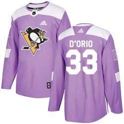 Alex Dorio Pittsburgh Penguins Men's Adidas Authentic Purple Alex DOrio Fights Cancer Practice Jersey