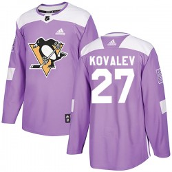 Alex Kovalev Pittsburgh Penguins Men's Adidas Authentic Purple Fights Cancer Practice Jersey