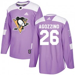Andrew Agozzino Pittsburgh Penguins Men's Adidas Authentic Purple Fights Cancer Practice Jersey