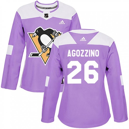 Andrew Agozzino Pittsburgh Penguins Women's Adidas Authentic Purple Fights Cancer Practice Jersey