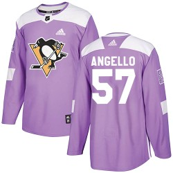 Anthony Angello Pittsburgh Penguins Youth Adidas Authentic Purple Fights Cancer Practice Jersey