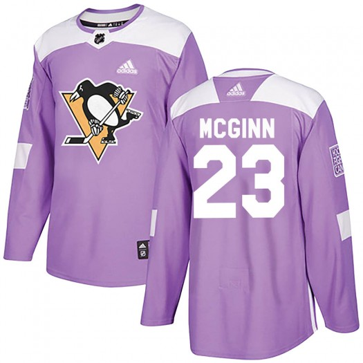 Brock McGinn Pittsburgh Penguins Youth Adidas Authentic Purple Fights Cancer Practice Jersey