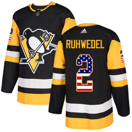 Chad Ruhwedel Pittsburgh Penguins Men's Adidas Authentic Black USA Flag Fashion Jersey
