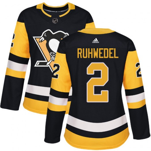 Chad Ruhwedel Pittsburgh Penguins Women's Adidas Authentic Black Home Jersey