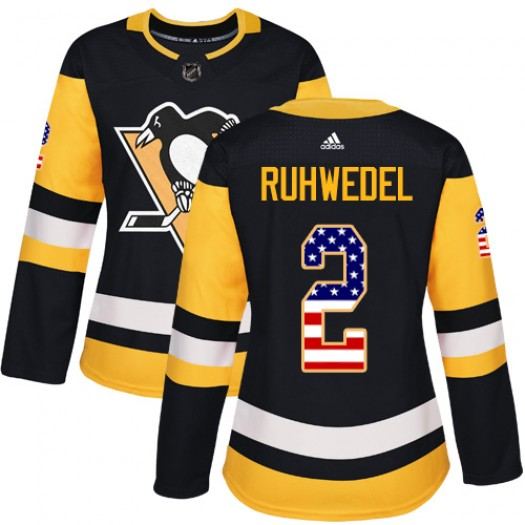 Chad Ruhwedel Pittsburgh Penguins Women's Adidas Authentic Black USA Flag Fashion Jersey