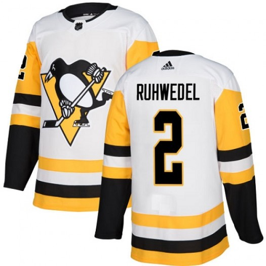 Chad Ruhwedel Pittsburgh Penguins Women's Adidas Authentic White Away Jersey