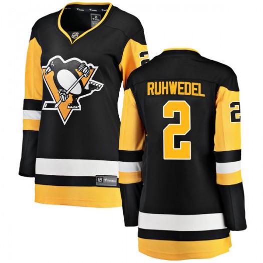 Chad Ruhwedel Pittsburgh Penguins Women's Fanatics Branded Black Breakaway Home Jersey