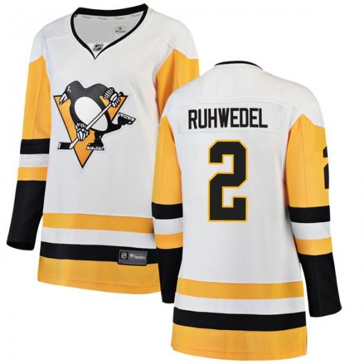 Chad Ruhwedel Pittsburgh Penguins Women's Fanatics Branded White Breakaway Away Jersey