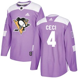 Cody Ceci Pittsburgh Penguins Men's Adidas Authentic Purple Fights Cancer Practice Jersey