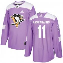 Darius Kasparaitis Pittsburgh Penguins Men's Adidas Authentic Purple Fights Cancer Practice Jersey