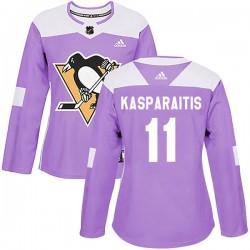 Darius Kasparaitis Pittsburgh Penguins Women's Adidas Authentic Purple Fights Cancer Practice Jersey