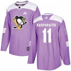 Darius Kasparaitis Pittsburgh Penguins Youth Adidas Authentic Purple Fights Cancer Practice Jersey