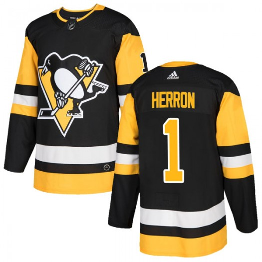 Denis Herron Pittsburgh Penguins Men's Adidas Authentic Black Home Jersey