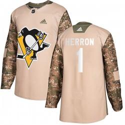 Denis Herron Pittsburgh Penguins Men's Adidas Authentic Camo Veterans Day Practice Jersey