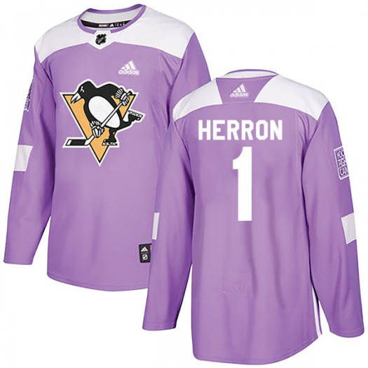 Denis Herron Pittsburgh Penguins Men's Adidas Authentic Purple Fights Cancer Practice Jersey