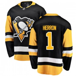 Denis Herron Pittsburgh Penguins Men's Fanatics Branded Black Breakaway Home Jersey