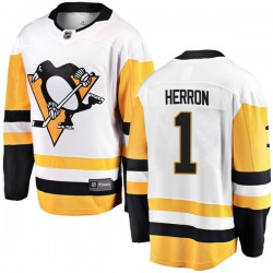 Denis Herron Pittsburgh Penguins Men's Fanatics Branded White Breakaway Away Jersey