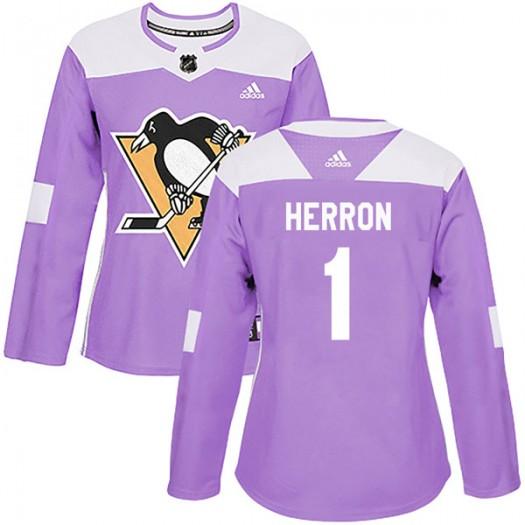 Denis Herron Pittsburgh Penguins Women's Adidas Authentic Purple Fights Cancer Practice Jersey