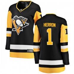 Denis Herron Pittsburgh Penguins Women's Fanatics Branded Black Breakaway Home Jersey
