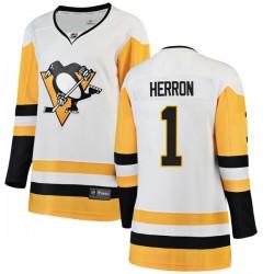 Denis Herron Pittsburgh Penguins Women's Fanatics Branded White Breakaway Away Jersey