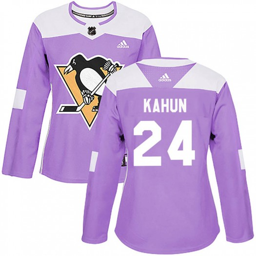 Dominik Kahun Pittsburgh Penguins Women's Adidas Authentic Purple Fights Cancer Practice Jersey