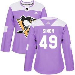 Dominik Simon Pittsburgh Penguins Women's Adidas Authentic Purple Fights Cancer Practice Jersey