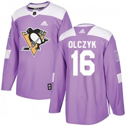 Ed Olczyk Pittsburgh Penguins Men's Adidas Authentic Purple Fights Cancer Practice Jersey