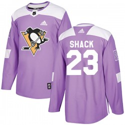 Eddie Shack Pittsburgh Penguins Men's Adidas Authentic Purple Fights Cancer Practice Jersey