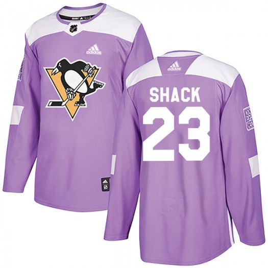 Eddie Shack Pittsburgh Penguins Youth Adidas Authentic Purple Fights Cancer Practice Jersey