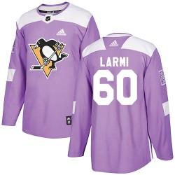 Emil Larmi Pittsburgh Penguins Men's Adidas Authentic Purple Fights Cancer Practice Jersey