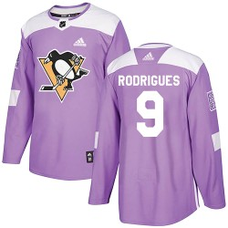 Evan Rodrigues Pittsburgh Penguins Youth Adidas Authentic Purple ized Fights Cancer Practice Jersey