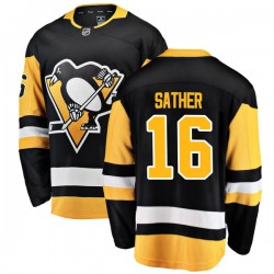 Glen Sather Pittsburgh Penguins Men's Fanatics Branded Black Breakaway Home Jersey