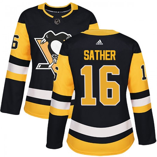Glen Sather Pittsburgh Penguins Women's Adidas Authentic Black Home Jersey