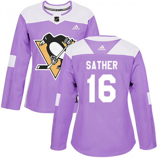 Glen Sather Pittsburgh Penguins Women's Adidas Authentic Purple Fights Cancer Practice Jersey