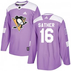 Glen Sather Pittsburgh Penguins Youth Adidas Authentic Purple Fights Cancer Practice Jersey