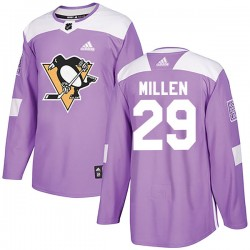 Greg Millen Pittsburgh Penguins Men's Adidas Authentic Purple Fights Cancer Practice Jersey
