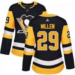 Greg Millen Pittsburgh Penguins Women's Adidas Authentic Black Home Jersey