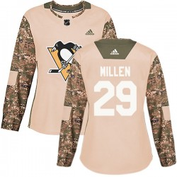 Greg Millen Pittsburgh Penguins Women's Adidas Authentic Camo Veterans Day Practice Jersey