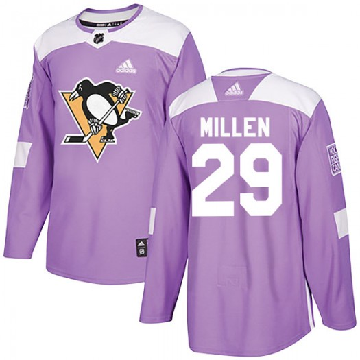 Greg Millen Pittsburgh Penguins Youth Adidas Authentic Purple Fights Cancer Practice Jersey