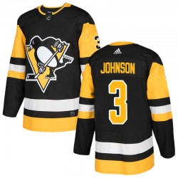 Jack Johnson Pittsburgh Penguins Men's Adidas Authentic Black Home Jersey
