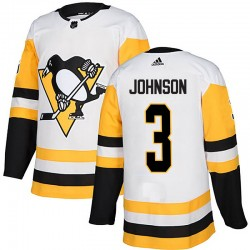 Jack Johnson Pittsburgh Penguins Men's Adidas Authentic White Away Jersey