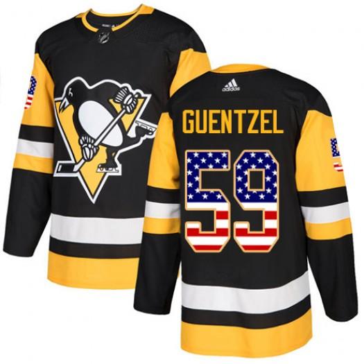 Jake Guentzel Pittsburgh Penguins Men's Adidas Authentic Black USA Flag Fashion Jersey