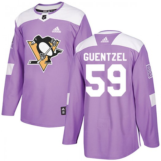 Jake Guentzel Pittsburgh Penguins Men's Adidas Authentic Purple Fights Cancer Practice Jersey