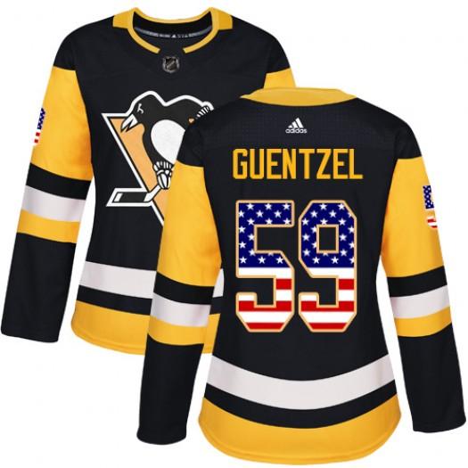 Jake Guentzel Pittsburgh Penguins Women's Adidas Authentic Black USA Flag Fashion Jersey