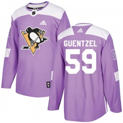 Jake Guentzel Pittsburgh Penguins Youth Adidas Authentic Purple Fights Cancer Practice Jersey