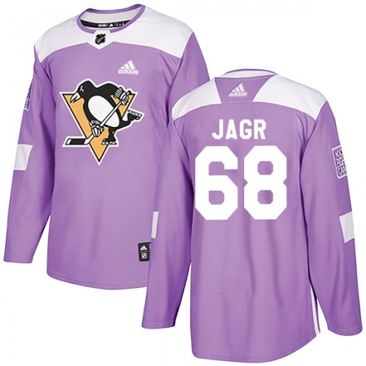 Jaromir Jagr Pittsburgh Penguins Men's Adidas Authentic Purple Fights Cancer Practice Jersey