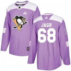 Jaromir Jagr Pittsburgh Penguins Youth Adidas Authentic Purple Fights Cancer Practice Jersey