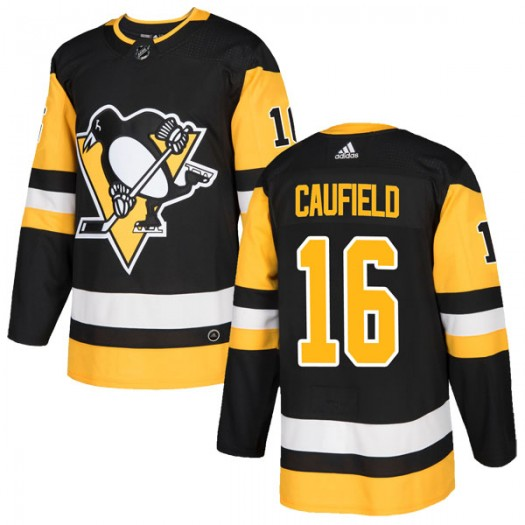 Jay Caufield Pittsburgh Penguins Men's Adidas Authentic Black Home Jersey