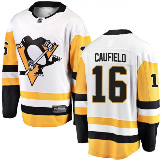 Jay Caufield Pittsburgh Penguins Men's Fanatics Branded White Breakaway Away Jersey