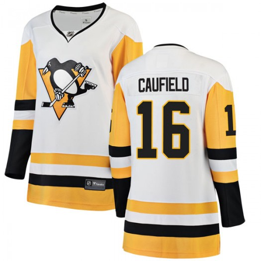 Jay Caufield Pittsburgh Penguins Women's Fanatics Branded White Breakaway Away Jersey